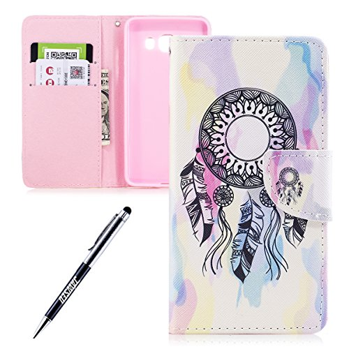 JAWSEU Coque Galaxy J5 2016,Etui Galaxy J5 2016 Portefeuille PU à Rabat Belle Coloré Cuir Folio Housse de Protection Ultra Mince Leather Wallet Case Stand Magnétique Flip Cover,Hibou