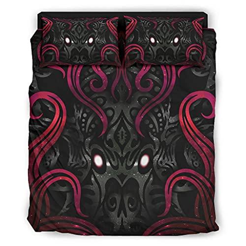 Mobiliarbusshi Juego de sábanas de 4 piezas misterioso Cthulhu lujosas sábanas sedosas Cthulhu resistente a las arrugas para el hogar, dormitorio, blanco 175 x 218 cm