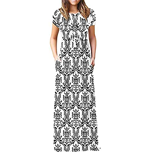 Mujeres más tamaño de impresión de mariposa diario sin mangas Vintage Boho V cuello Maxi vestido para las mujeres negro S