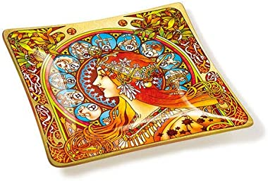 Amia Art Nouveau Zodiac Handcrafted Glass, Tray, Multicolored