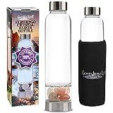 Crystal Water Bottle Elixir Set   Genuine Authentic Rose Quartz & Clear Quartz Healing Gemstones   Black Neoprene Sleeve   Drink Gem Infused Water