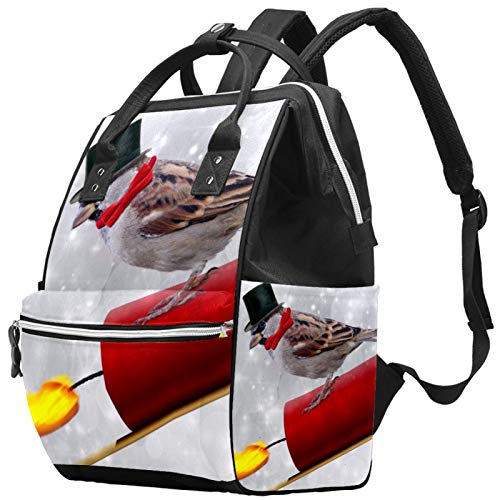 Leisure Travel School New Year's Day Fireworks Backpack Multifunction Diaper Bag with Adjustable Strap for Men Women Girls Boys
