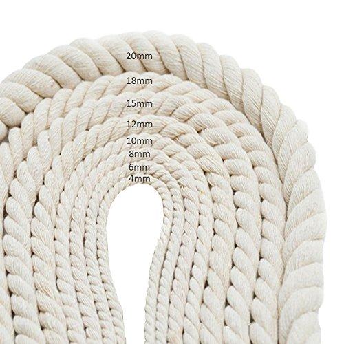 Zaote 6mm dicke geflochtene Seil handgefertigte Dekorationen natürliche Baumwolle Seil stricken geflochtene dekorative Garn Gepäck Kordelzug Vorhang gebunden Seil