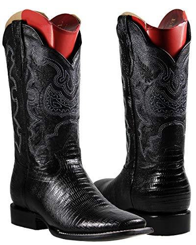 El General Men's Cowboy Rodeo Boots Lizard Print Imitacion Armadillo (6) Black Black Lizard Cowboy Boots
