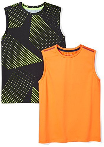 Amazon Essentials Kids Boys Active Performance Muscle Tank Tops, 2-Pack Gradient/Orange, Small