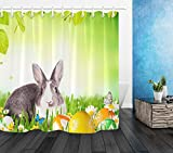 Frohe Ostern Polyester Stoff Duschvorhang Set Gold Bunny Rabbit Eggs