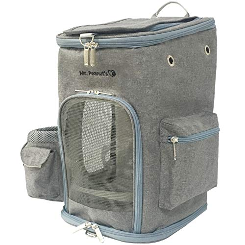 Mr. Peanut's Backpack Pet Carrier, Soft Sided Tote for Smaller Cats & Dogs, Check Sizing Before Purchase, Premium Zippers, Self Locking Zippers & Faux Fleece Padding (Platinum Gray)