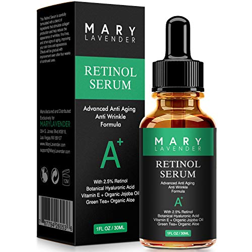 MARY LAVENDER Retinol Serum 2.5% for Face and Eye with Hyaluronic Acid,Vitamin E,Green Tea, Anti Aging Anti Wrinkles Facial Serum Reduce wrinkles Fine Lines,Dark Spots, Pores,Acne,1 fl oz