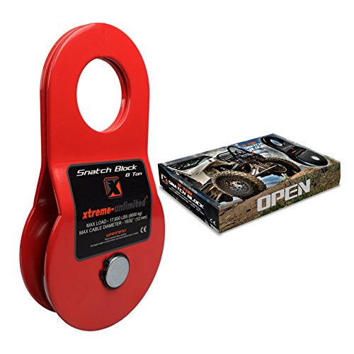 "Premium 8-Ton Snatch Block by Xtreme-Unlimited | Pulley Block W//Greasable Fitting | Winch Accessories | Heavy Duty Rope Pulley | Universal Snatch Blocks for Winches | Max Cable 15/32"" (12 mm)"