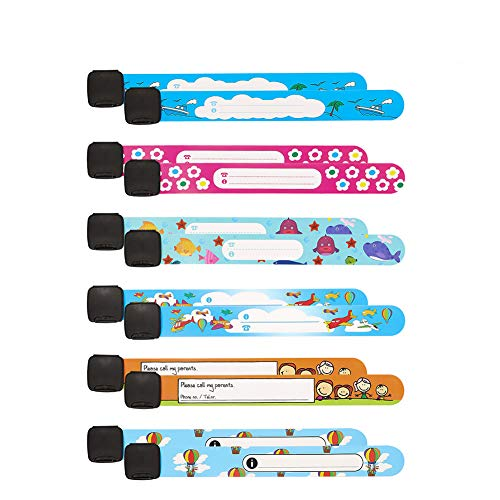 You&Lemon 12 Stück Notfall-Armband für Kinder Wasserfest Kinder Notfallarmband wiederverwendbar SOS Sicherheitarmband ID Armband für Jungen Mädchen