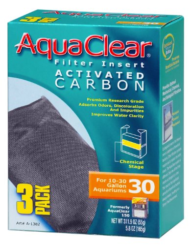 AquaClear A1382 Activated Carbon Insert, 30-Gallon Aquariums, White, 3-Pack