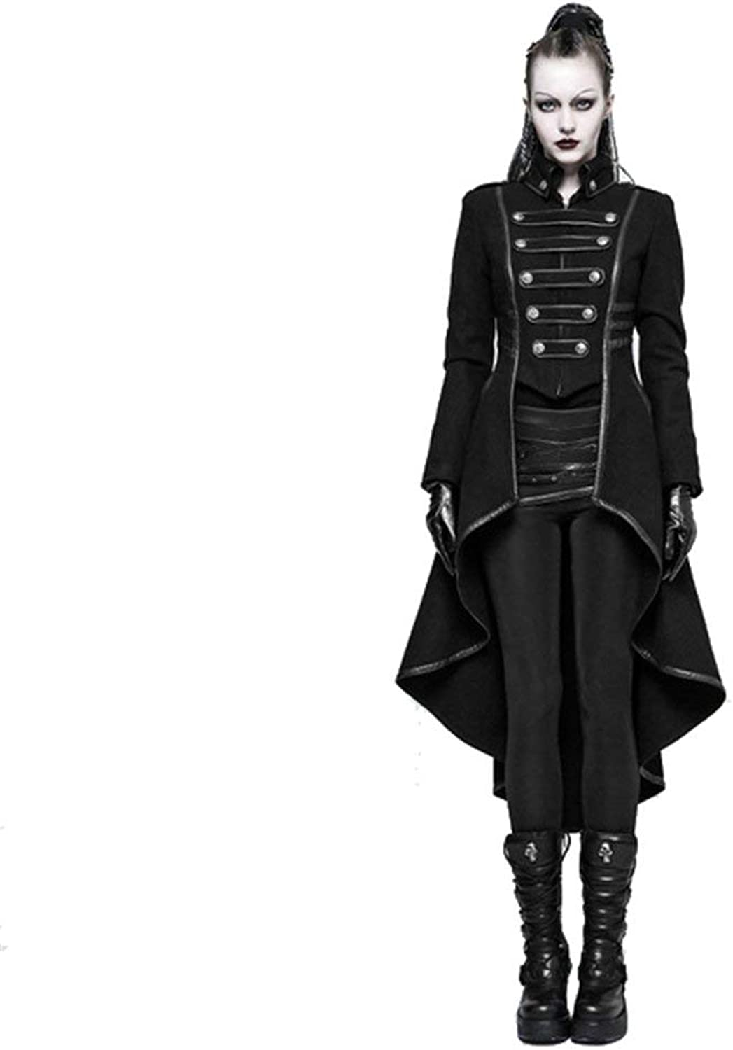 433b37ee6 PUNK RAVE Gothic Winter Buckle Military Women's Blend Long Coats ...