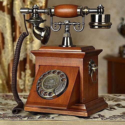 Teléfono anticuado Home Office Office Decoration Solid Wood European Antiguo Retro Antiguo Línea fija con cable con altavoz y función de rellamado, para el hogar Decoración de la Oficina Teléfono Deco
