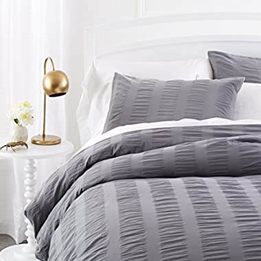 Pinzon Seersucker Duvet Cover Set - King, Dark Grey