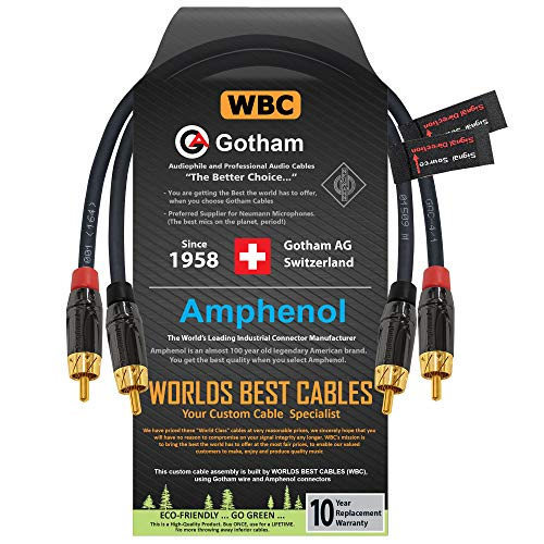1 Foot RCA Cable Pair - Gotham GAC-4/1 (Black) Star-Quad Audio Interconnect Cable with Amphenol ACPL Black Chrome Body, Gold Plated RCA Connectors - Directional
