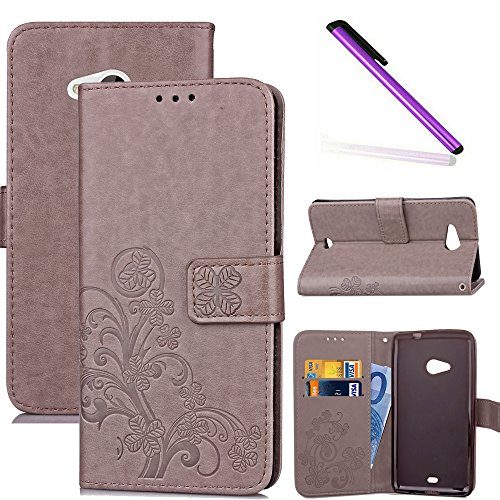 COTDINFOR Nokia Lumia 535 Custodia Cover Elegante Retro Donna Clover Embossing PU in Pelle con Wallet Card Holder Flip Custodia per Nokia Lumia 535 Clover Gray SD