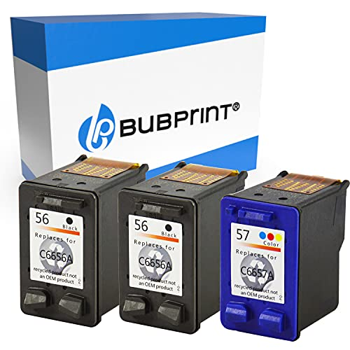 Bubprint Kompatibel Druckerpatronen als Ersatz für HP 56 57 für DeskJet 5150 5550 5600 5650 5652 OfficeJet 5510 PhotoSmart 7760 PSC 1110 1200 1210 1215 1310 1315 1315S 1350 2410 3er-Pack