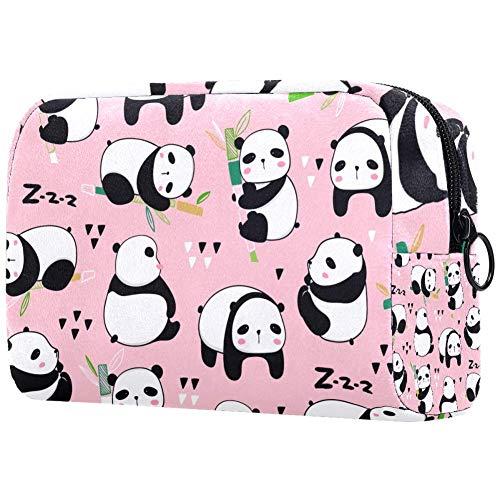 Sac à cosmétiques pour femme, Kawaii Panda Mangez des ours en bambou Différentes poses Motif de sacs de maquillage, accessoires organiseur cadeaux