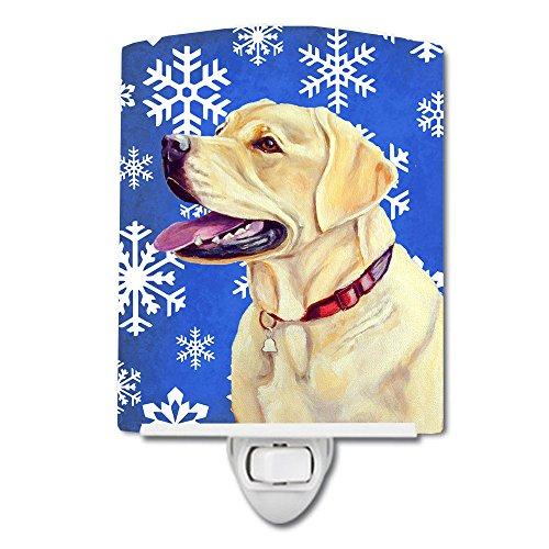 Caroline's Treasures LH9293CNL Labrador Winter Snowflakes Holiday - Lámpara de noche de cerámica, 6 x 4 x 3, multicolor