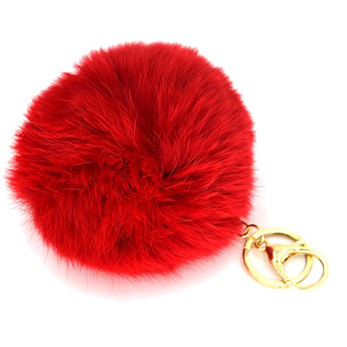 Miraclekoo Rabbit Fur Ball Pom Pom Keychain Gold Plated Keychain with Plush for Car Key Ring or Handbag Bag Decoration (Red)