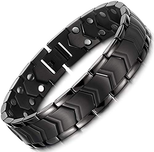 Magnetic Bracelets for Black Titanium Steel Magnetic Therapy Arthritis Bracelets for Pain Relief with Double Row Strength Adjustable Wristband with Removal Tool & Gift Box