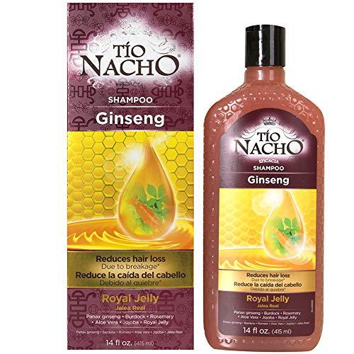 Tío Nacho Ginseng Jalea real Champú, 415 ml (14 onzas líquidas): reduce la pérdida de cabello; con Panax ginseng, bardana, romero, aloe vera, jojoba y jalea real [Ginseng Royal Jelly Shampoo]