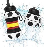 Botella Agua Silicona Diseño Fútbol España - Plegable - Niños, Niñas y Adultos - Muy resistente - 550ml (España)