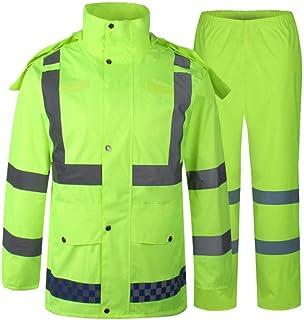BGROESTWB Snow Rainwear Fluorescent Oxford Cloth Raincoat Rain Pants Set Reflective Split Traffic Warning Raincoat Two Col...