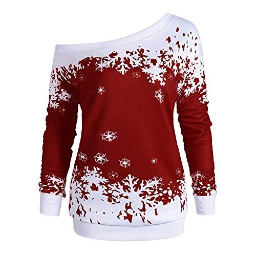 VEMOW Heißer Elegante Damen Frauen Frohe Weihnachten Weihnachtsmann Print Skew Kragen Casual Daily Party Freizeit Sweatshirt Bluse(X1-a-Rot, 44 DE / 4XL CN)