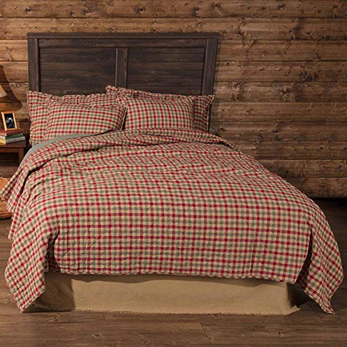 VHC Brands Jonathan Plaid Quilt Coverlet Soft Cotton Christmas Bedspread for Holiday Season Bedding Accessory, Queen 90x90, Tan