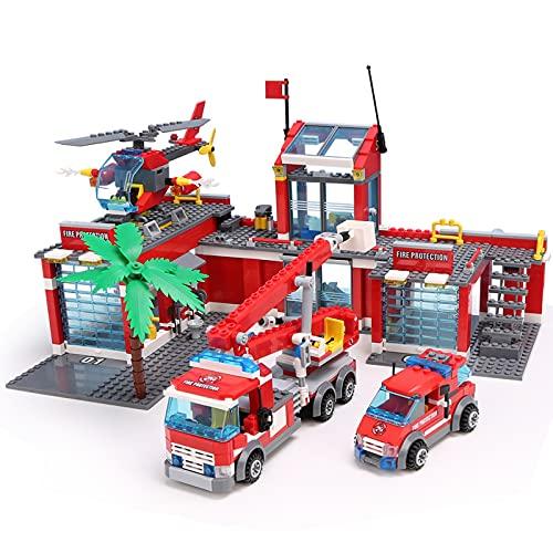Pidepcos Lego 774 piezas camiones de lucha contra incendios coche helicóptero barco bloques de construcción Ciudad Firefight Figures Toy Fire Vehicle Building Block Set