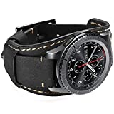 Hepsun Compatible with Samsung Galaxy Watch 46mm/Watch 3 45mm/Gear S3 Frontier/Classic/Pebble Time/Garmin Vivoactive 4/Fossil Q/TicWatch Pro3 Bands,22mm Vintage Genuine Leather Cuff Band Strap(Black)