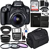 Canon EOS 4000D DSLR Camera with EF-S 18-55mm f/3.5-5.6 III Lens with Deluxe Accessory Bundle - Includes: Extended Life LPE10 Spare Battery, Digital Slave Flash, Carrying Case & Much More