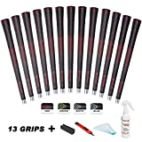 SAPLIZE Golf Grips Set of 13 with Complete Regripping Kit, Standard Size, Rubber Golf Club Grips, Red