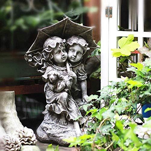 YATUKESHII Kreative Skulptur Desktop-Dekoration Schlafzimmer Wohnzimmer Dekoration,Junge Mädchen Paar auf Felsen mit Regenschirm Gartenharz Statue Ornament für im Freien