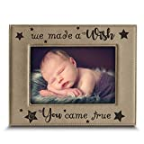 Bella Busta- We Made a Wish and You Came True- Baby Picture Frame- Baby shower Gift-Baby Gift-Mothers Day Gift-Fathers Day gift-Engraved Leather Picture Frame (5 x 7 Horizontal)