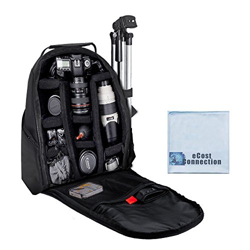 Photographer's Digital Camera/Video Padded Backpack for Canon 70D, 60D, 6D, 7D, 40D, 30D, 20D, 1D, 1DC, 1DS, 1DX & More… +eCostConnection Microfiber Cloth