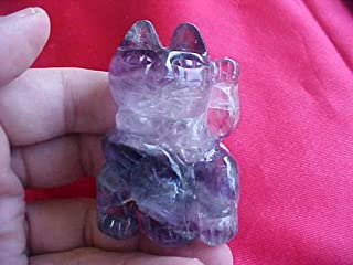 F4303 Rainbow Banded Fluorite Lucky Cat Left Paw Cute !!!