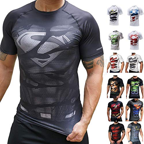 Khroom Superhero Short Sleeve Compression Shirt for Men | Rash Guard with Quick-Drying for Fitness | Breathable 4-Way Stretch Clothing (Superman B bla
