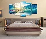Cuadro Lienzo Moderno 5 Piezas HD Imagen De Póster Lago Lofoten Naturaleza Noruega Impresión Artística, Combinación Pintura Decorativa para Salón De Hogar Decoración