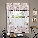Achim Home Furnishings Cappuccino Embellished Cottage Window Curtain Set, 58' x 36', Multicolor