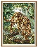 BaiHogi Decoración del hogar Bordado GiftstApestry Set de Bordado Animal Leopard Series 43x36cm Conjunto de Bordado de Costura Medio Cross. Incluyendo algodón múltiple