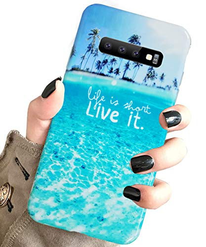 J.west Galaxy S10 Case for Girls Women, Stylish Unique Summer Tropical Blue Beach Ocean Pattern Design Slim Fit Soft Silicone TPU Phone Cover Shockproof Protective Case for Samsung Galaxy S10 Beach