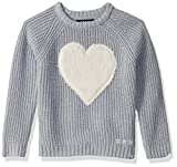 DKNY Girls' Toddler Sweater (More Styles Available), Faux Fur Heart Light Grey, 3T