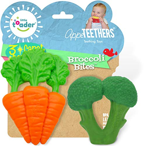 Little Toader  Baby Teether Toys – AppeTEETHERS Broccoli teether and Carrot teether  for Teething Infants and Toddlers Newborn and 3 Month