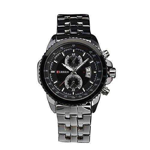 Curren Fashion plateado hombres de acero inoxidable FECHA Militar deporte cuarzo reloj de pulsera esfera blanca