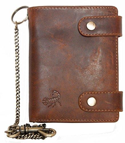 FLW Billetera marrón estilo motero de cuero genuino con cadena de metal con el escorpión
