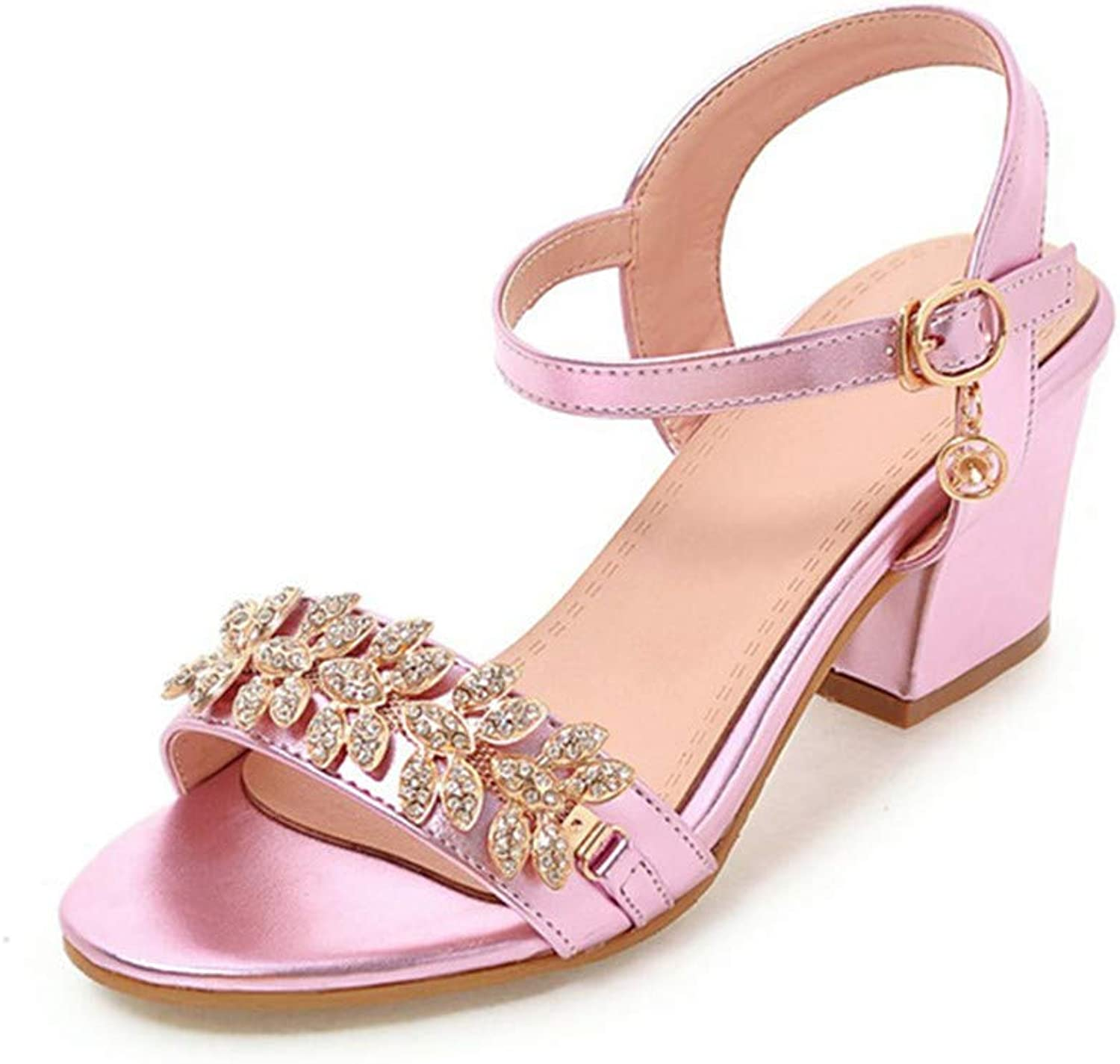 XuanHan shoes Crystals Ankle Strap Women shoes Fashion Square Heels Summer Sandals
