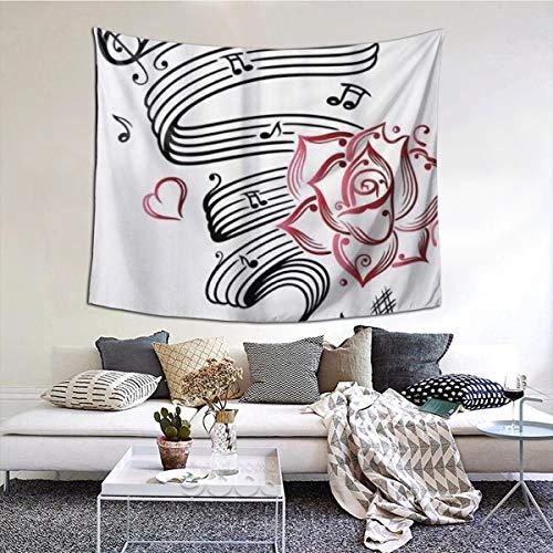 LASINSU Tapisserie Wandbehang,Bleistiftzeichnung Romantisches Sanduhr Symbol der ewigen Liebe mit Rosen Musik,Home Decor Wandteppiche Wandkunst für Zimmer 150x200cm