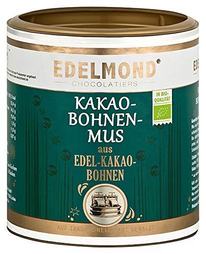 Edelmond Bio Kakaobohnen Mus cremig zum Backen mit Schokolade. Vegane Kuvertüre fast ohne Zucker, hochwertiger als Kakaomasse (250g)